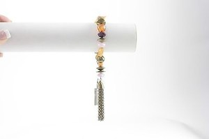 Chico's Chicos Goldtone Amber Purple Beads Tassel Stretch Bracelet Bj15