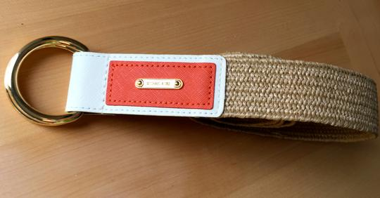 Michael Kors Leather accented raffia belt Image 4