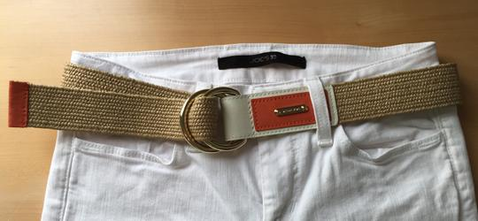 Michael Kors Leather accented raffia belt Image 5