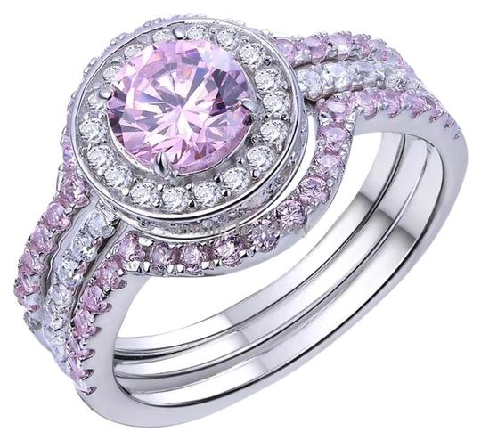 New 3pc 5tcw Wedding Ring Pink Amp White AAA CZ Stones