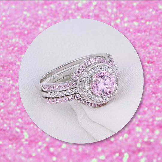 Other New 3pc 5tcw Wedding Ring Pink & White AAA CZ Stones & .925 Silver Set Ring Sz 7 Image 1