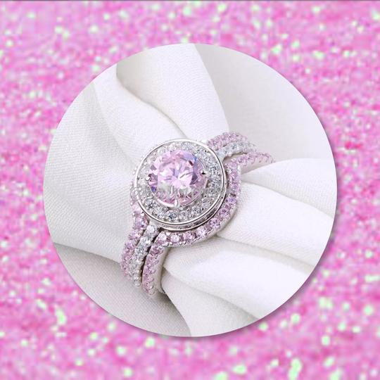 Other New 3pc 5tcw Wedding Ring Pink & White AAA CZ Stones & .925 Silver Set Ring Sz 7 Image 2