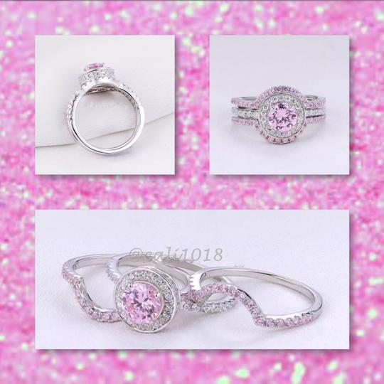 Other New 3pc 5tcw Wedding Ring Pink & White AAA CZ Stones & .925 Silver Set Ring Sz 7 Image 3