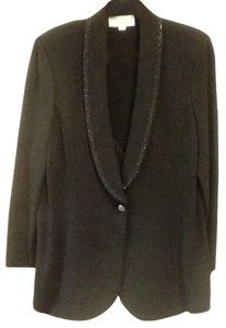 St. John Knit Button Jacket Sequin Trim Black Blazer