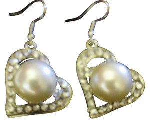 Other Faux Pearl and Glass Crystals J Hook Earrings