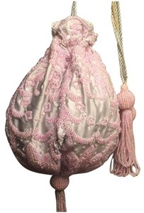 Other Beaded Evening Pouch Vintage Pretty Wristlet in Pink