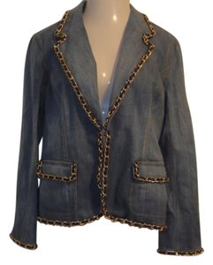 Randolph Duke Jean Gold Chain New With Tags Size 14 blue Womens Jean Jacket