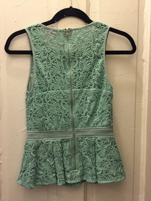 Pookie and Sebastian Summer Peplum Green Lace Top mint Image 1
