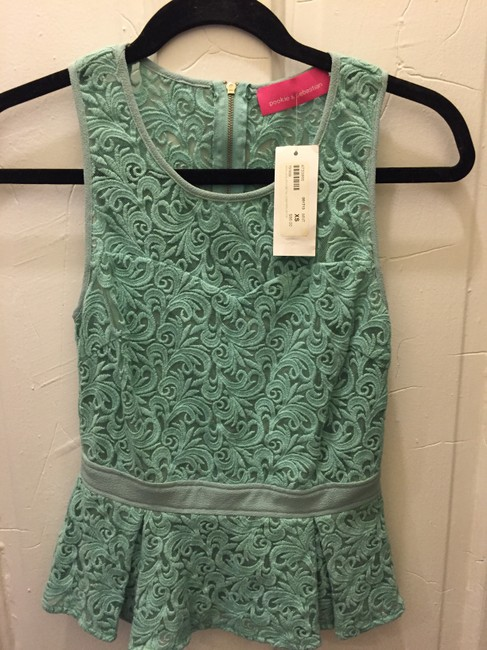 Pookie and Sebastian Summer Peplum Green Lace Top mint Image 2