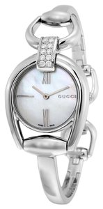 Gucci Mother of Pearl Dial 10 Diamond Pave Silver tone Bangle Bracelet Designer Luxury watch