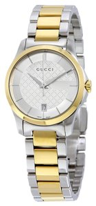 Gucci Diamond Print Silver and Gold tone Stainless Steel Designer Ladies Dress Watch