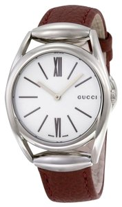 Gucci White Dial Brick Red Leather Strap Silver Stainless Steel Designer ladies Dress Watch