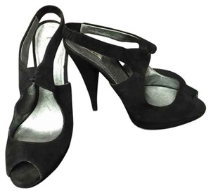 Miu Miu Heels Slingbacks Suede Peep Toe Black Sandals