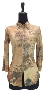 Roberto Cavalli Suede Words Flowers Three-quarter Romantic khaki, tan, red, brown Jacket