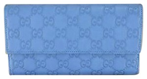Gucci 100 % Authentic Gucci Blue GG Guccissima Leather Continental Wallet