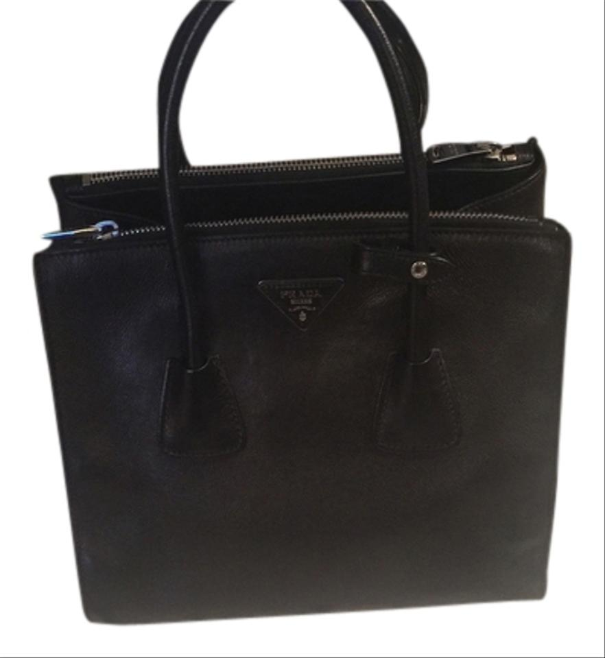 8918203d4833 Prada Double Soft Zip Nero Black Calf Leather Tote - Tradesy
