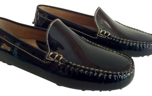 Lands' End Traditional Loafer Stylish Trim Patent Leather Black Flats