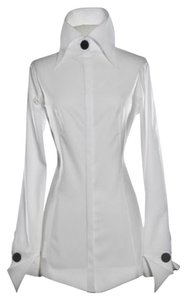 Anne Fontaine French Cuffs High Neck Top White