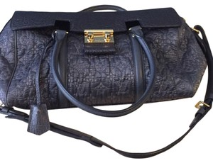 Louis Vuitton Limited Edition Grid Monogram Satchel in Grey Blue