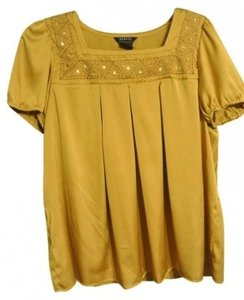 George Silky Mustard Beading Short Sleeve Office Top