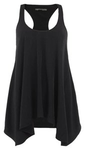 AllSaints Uneven Hemline Handkerchief Cut Top Black