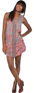 Free People short dress Taupe with Salmon/Persimmon flowers on Tradesy