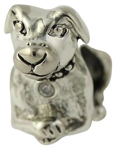 Puppy Cz Charm - 925 Sterling Silver Dog Womens Fashion Animal Cubic Zirconia