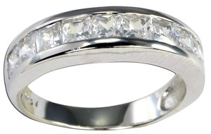 J Brand GENUINE 925 Sterling Silver 9 Stone PRINCESS CUT Clear CZ Band Ring Size 5 6 7 8 9 10