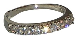 J Brand GENUINE 925 Sterling Silver 9 Stone ROUND CUT Clear CZ Band Ring Size 5 6 7 8 9 10