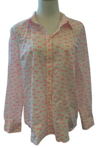 Merona Button Down Shirt White and PInk