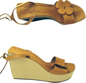 Robert Clergerie Leather Linen Platform Sandal Tan Platform Wedges