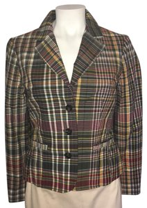 Tommy Hilfiger Preppy 2 Pocket Three Button Vintange Multi Plaid Blazer