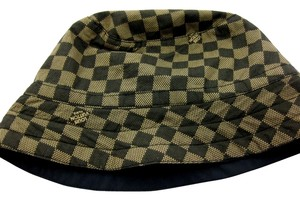 1e1fe02654f Louis Vuitton Black and Tan Bucket Reversible Damier Hat - Tradesy