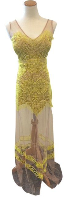 Item - Yellow and Beige Long Casual Maxi Dress Size 8 (M)