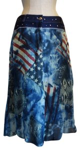 Sharagano Usa Sexy Holiday Skirt Multi (American Flag