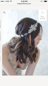 "BHLDN Silver Pearl Ivory Twigs and Honey ""Majestic Crystal Headwrap/Headband"" Hair Accessory"