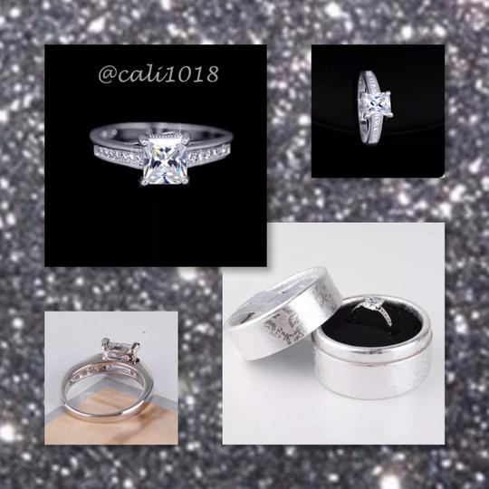 Other New Princess Cut White Sapphire & 18k White Gold Filled Ring Image 1