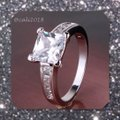 Other New Princess Cut White Sapphire & 18k White Gold Filled Ring Image 2