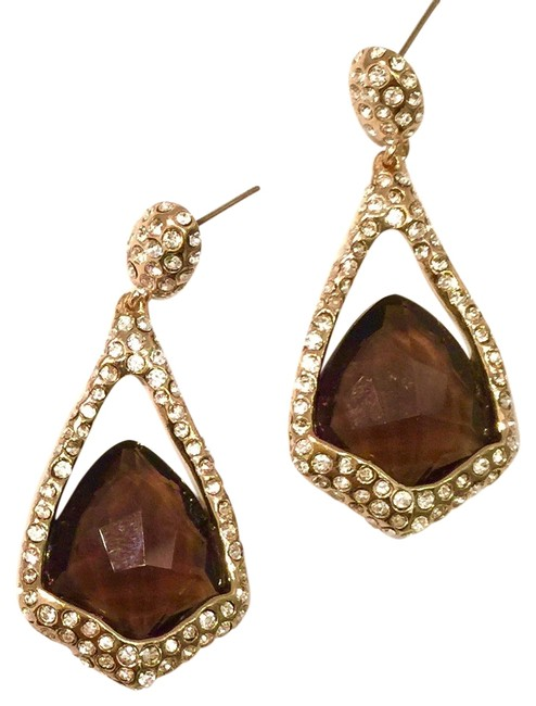 Item - Brown Miss Havisham Smoky Quartz & Crystal Drop Earrings