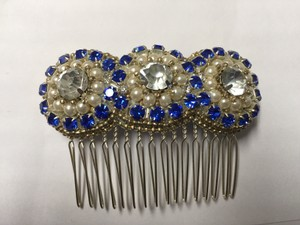 Simulated Sapphire Pearl & Diamond Headpiece