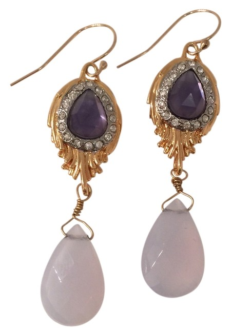 Item - Brown/White Amethyst Feathered Moonstones Drop Earrings
