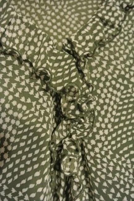 Old Navy Ruffle Cami Light Weight. Top Olive green, print, cream