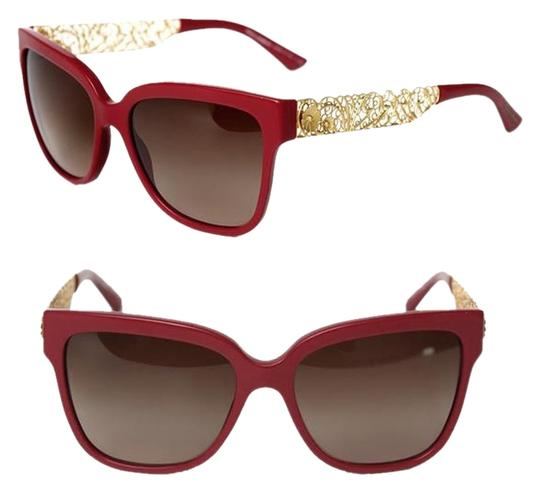 Preload https://item1.tradesy.com/images/dolce-and-gabbana-red-gold-dolce-and-gabbana-women-flower-lace-leaf-wayfarer-4212-floral-d-and-g-sun-1457255-0-3.jpg?width=440&height=440