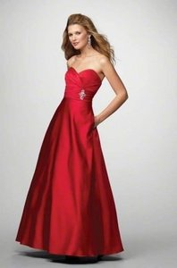 Alfred Angelo Cherry Satin 7166 Formal Bridesmaid/Mob Dress Size 6 (S)