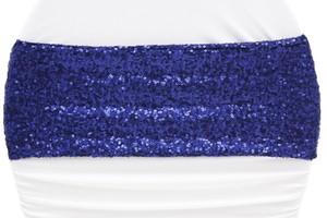 100 Sequins Royal Blue Chair Bands Sashes
