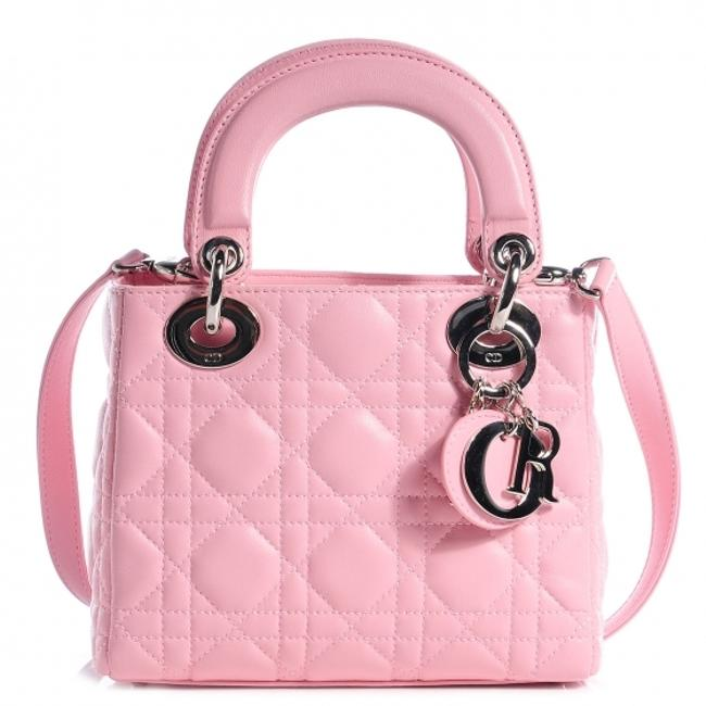 Item - Lady Mini Baby Pink Cannage Leather Rose Clair Lambskin Satchel