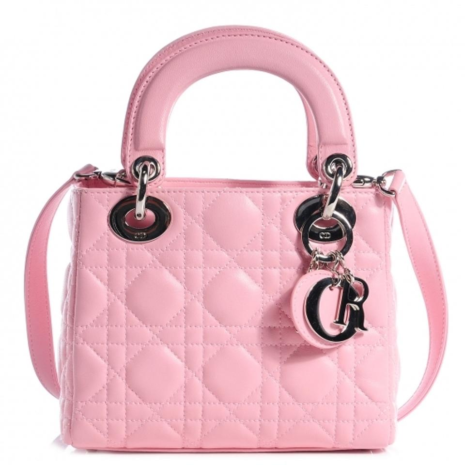 dab8649a55 Dior Lady Dior Mini Baby Pink Cannage Leather Rose Clair Lambskin ...