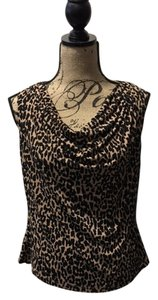 Calvin Klein Shell Sleeveless Cowl Neck Top Brown and Black Print