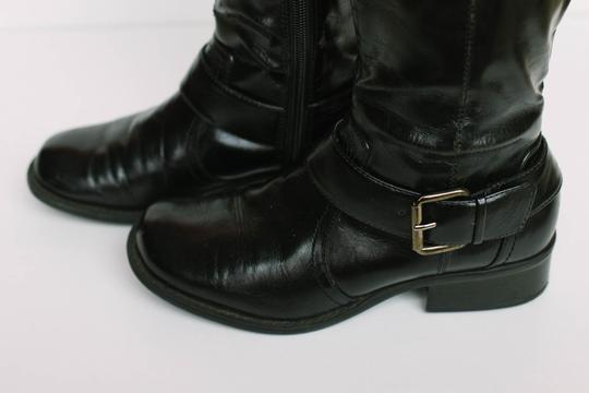 Sbicca Vintage Buckle Patent Leather Black Patent Boots