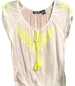 Planet Gold Top White with neon yellow stiching
